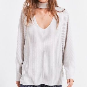 Urban Outfitters Grey Open Mock-Neck Sweater
